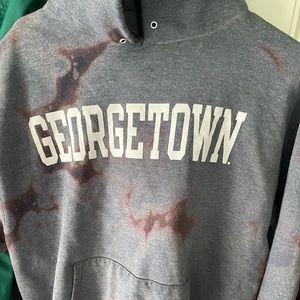 Georgetown bleach tie die champion hoodie